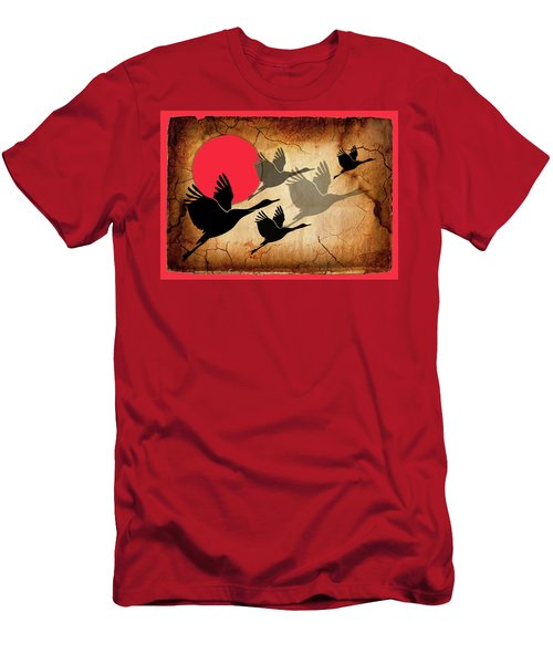 Flying Cranes Men's T-Shirt (Athletic Fit)