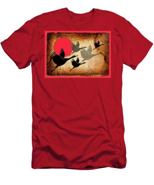 Flying Cranes Men's T-Shirt (Athletic Fit)