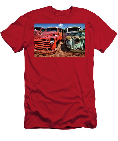 Ford And Chevy Standoff Men's T-Shirt (Slim Fit) by Jeffrey Jensen