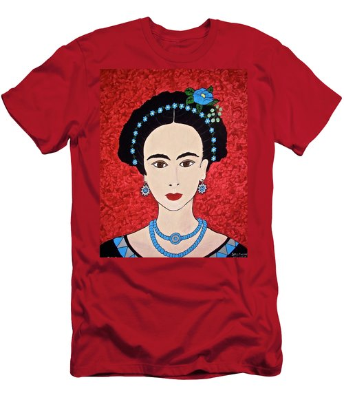 Frida With Blue Flowers Men's T-Shirt (Slim Fit) by Stephanie Moore