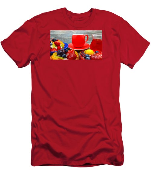 Fruit Desserts And Cup Of Coffee Men's T-Shirt (Athletic Fit)