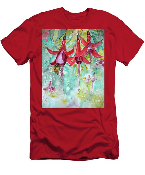 Men's T-Shirt (Slim Fit) featuring the painting  Fuchsia by Jasna Dragun