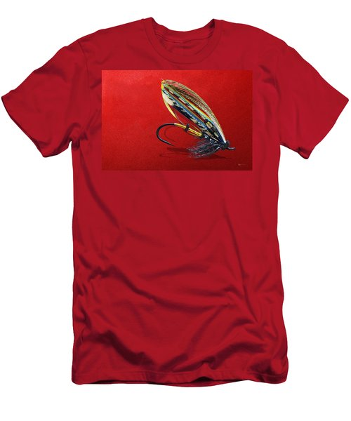 Fully Dressed Salmon Fly On Red Men's T-Shirt (Slim Fit) by Serge Averbukh