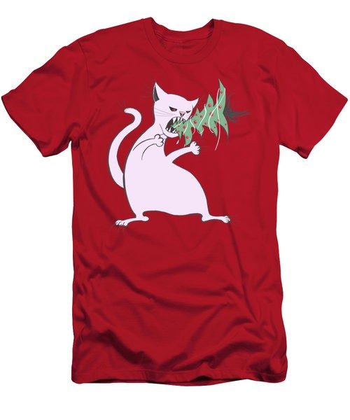 Funny White Cat Eats Christmas Tree Men's T-Shirt (Athletic Fit)