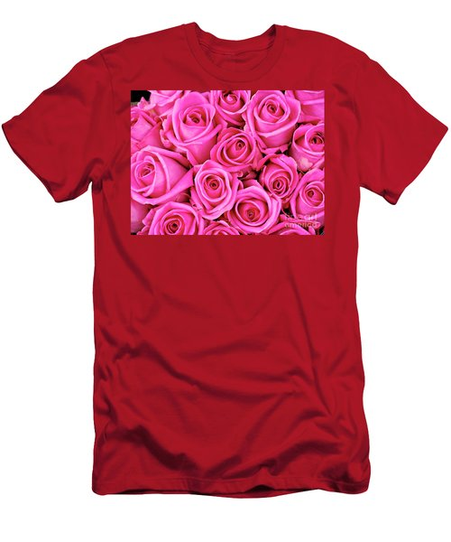 Fuschia Colored Roses Men's T-Shirt (Athletic Fit)