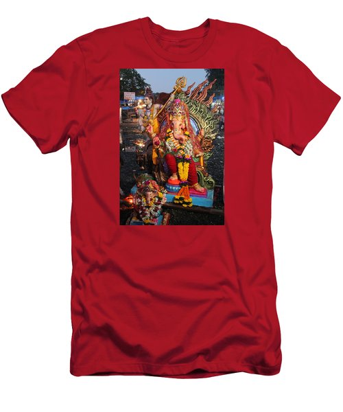 Ganesha Arati On Ganesh Chaturthi, Ganeshpuri Men's T-Shirt (Slim Fit) by Jennifer Mazzucco