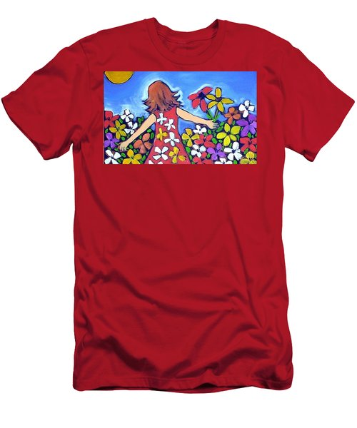 Men's T-Shirt (Slim Fit) featuring the painting Garden Of Joy by Winsome Gunning
