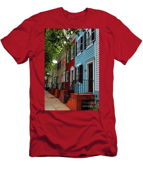 Men's T-Shirt (Athletic Fit) featuring the photograph Georgetown Shutter Row by Jost Houk
