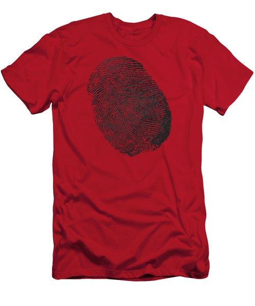 Giant Black Fingerprint On Red Leather   Men's T-Shirt (Athletic Fit)