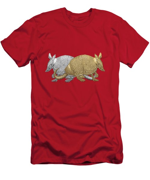 Men's T-Shirt (Slim Fit) featuring the digital art Gold And Silver Armadillo On Red Canvas by Serge Averbukh