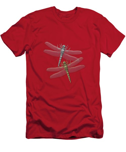 Gold And Silver Dragonflies On Red Canvas Men's T-Shirt (Athletic Fit)