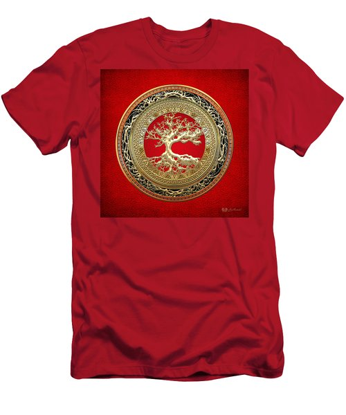 Gold Celtic Tree Of Life On Red Men's T-Shirt (Athletic Fit)