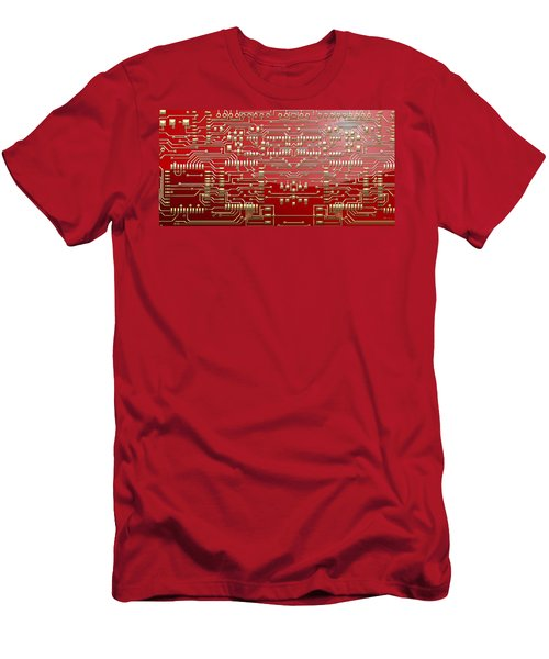 Gold Circuitry On Red Men's T-Shirt (Slim Fit) by Serge Averbukh