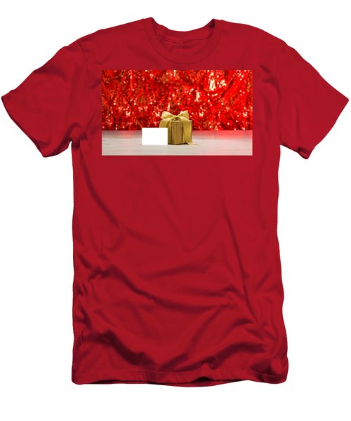 Men's T-Shirt (Slim Fit) featuring the photograph Gold Present With Place Card  by Ulrich Schade