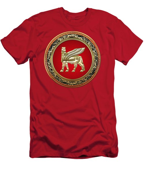Golden Babylonian Winged Bull  Men's T-Shirt (Slim Fit) by Serge Averbukh