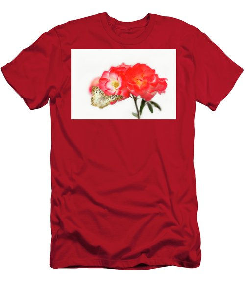 Golden Butterfly On Roses Men's T-Shirt (Athletic Fit)