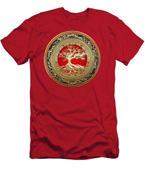 Golden Celtic Tree Of Life  Men's T-Shirt (Athletic Fit)