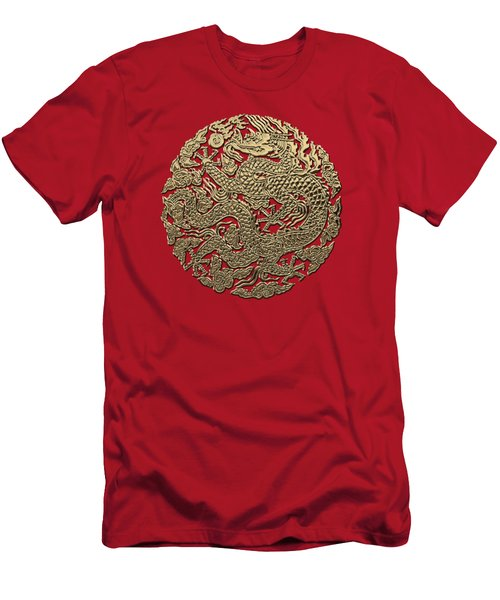 Golden Chinese Dragon On Red Leather Men's T-Shirt (Slim Fit) by Serge Averbukh