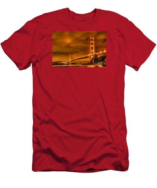 Men's T-Shirt (Slim Fit) featuring the photograph Golden Gate Bridge - Nightside by Jim Carrell
