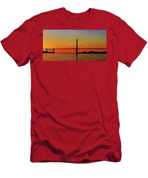 Men's T-Shirt (Athletic Fit) featuring the digital art Golden Gate Bridge Panoramic by PixBreak Art