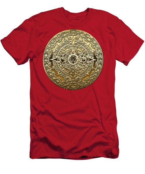 Golden Mayan-aztec Calendar On Red Men's T-Shirt (Athletic Fit)