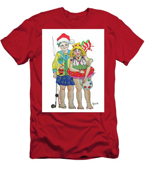 Men's T-Shirt (Slim Fit) featuring the painting Gram - Cracker And Papa by Rosemary Aubut