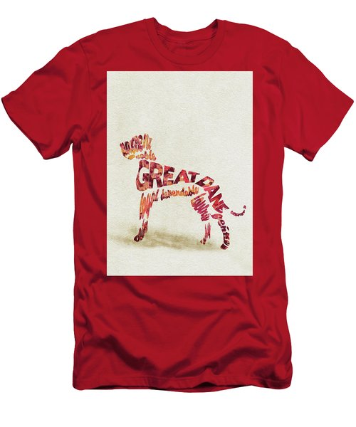 Men's T-Shirt (Athletic Fit) featuring the painting Great Dane Watercolor Painting / Typographic Art by Ayse and Deniz