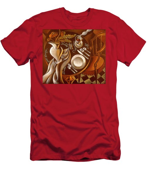 Men's T-Shirt (Slim Fit) featuring the painting Great Dining by Leon Zernitsky