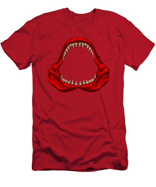 Great White Shark - Red Jaws With Gold Teeth On Red Canvas Men's T-Shirt (Slim Fit) by Serge Averbukh