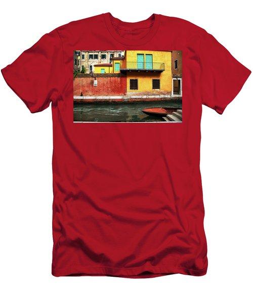 Men's T-Shirt (Slim Fit) featuring the photograph Green Doors by Sharon Jones