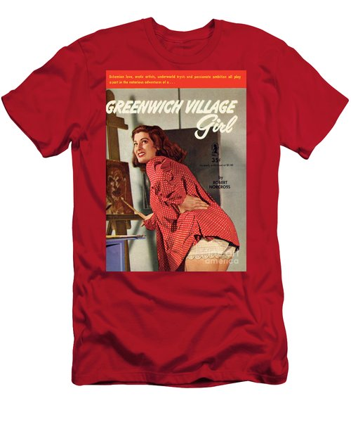 Men's T-Shirt (Slim Fit) featuring the painting Greenwich Village Girl by Photo Cover