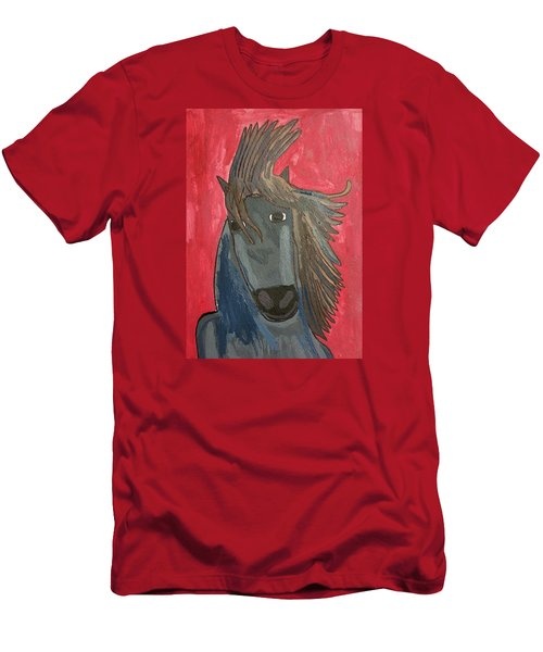 Grey Horse Men's T-Shirt (Slim Fit) by Artists With Autism Inc