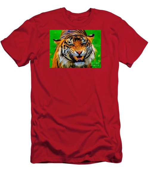 Men's T-Shirt (Athletic Fit) featuring the photograph Growling Tiger by Ray Shiu
