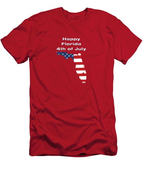 Men's T-Shirt (Athletic Fit) featuring the digital art Happy Florida 4th Of July by Judy Hall-Folde