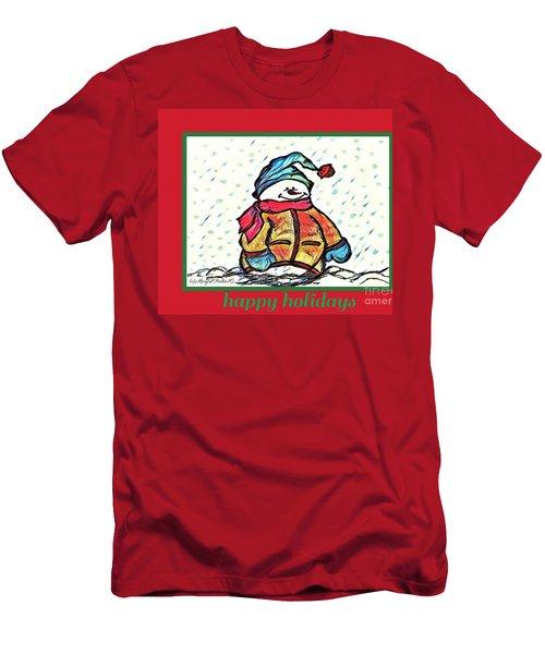 Happy Holidays Snowman Men's T-Shirt (Athletic Fit)