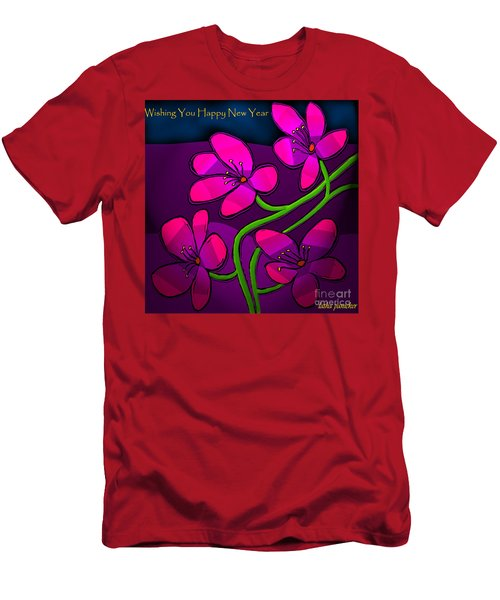 Men's T-Shirt (Slim Fit) featuring the digital art Happy New Year by Latha Gokuldas Panicker