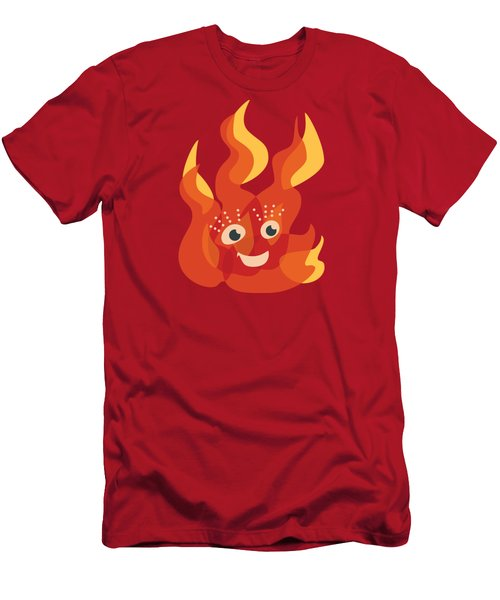 Happy Orange Burning Fire Character Men's T-Shirt (Athletic Fit)