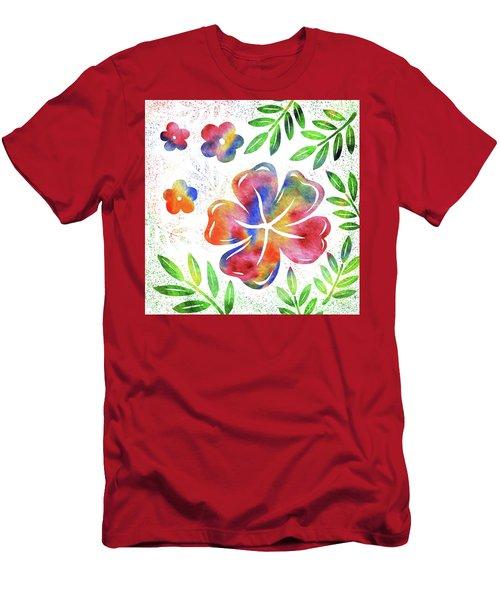 Happy Watercolor Flowers Men's T-Shirt (Athletic Fit)