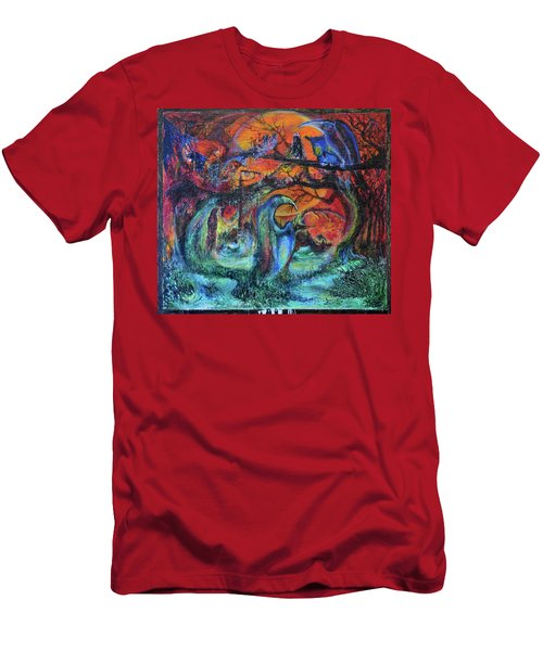 Men's T-Shirt (Slim Fit) featuring the painting Harvesters Of The Autumnal Swamp by Christophe Ennis