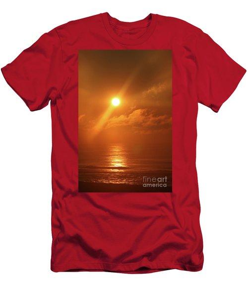 Hazy Orange Sunrise On The Jersey Shore Men's T-Shirt (Athletic Fit)