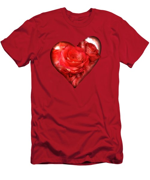 Heart Of A Rose - Red Men's T-Shirt (Athletic Fit)