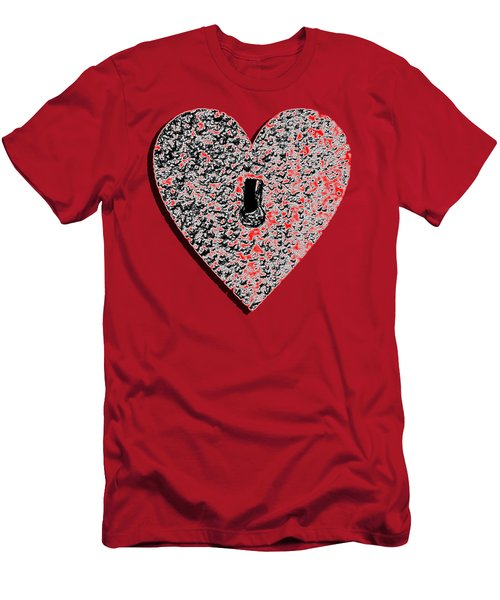 Men's T-Shirt (Slim Fit) featuring the photograph Heart Shaped Lock Red .png by Al Powell Photography USA