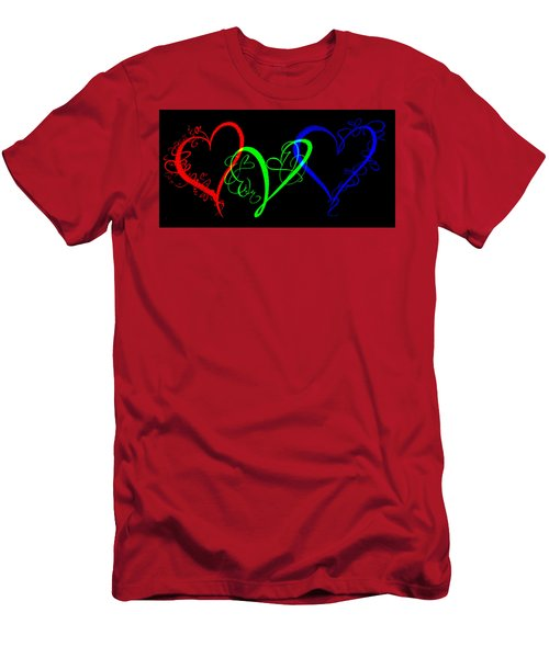 Hearts On Black Men's T-Shirt (Athletic Fit)