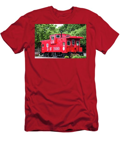 Men's T-Shirt (Slim Fit) featuring the photograph Helena Red Caboose by Parker Cunningham
