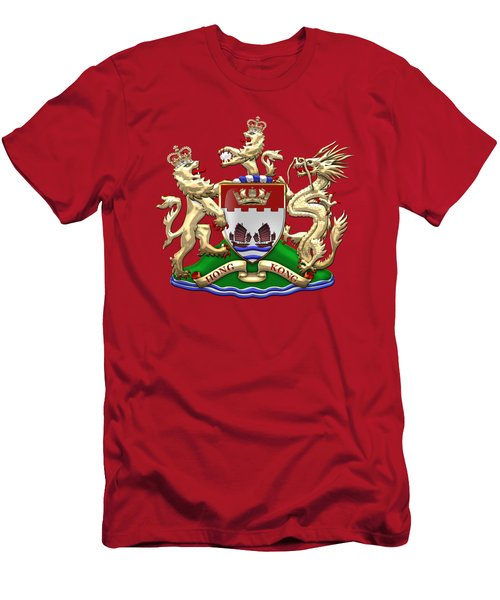 Hong Kong - 1959-1997 Coat Of Arms Over Red Leather  Men's T-Shirt (Slim Fit)