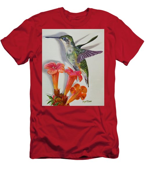 Hummingbird And A Trumpet Vine Men's T-Shirt (Slim Fit) by Phyllis Beiser