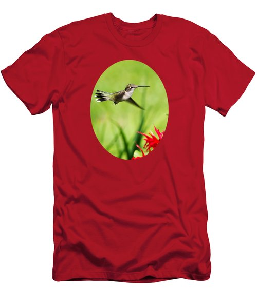 Hummingbird Hovering Over Flowers Men's T-Shirt (Athletic Fit)