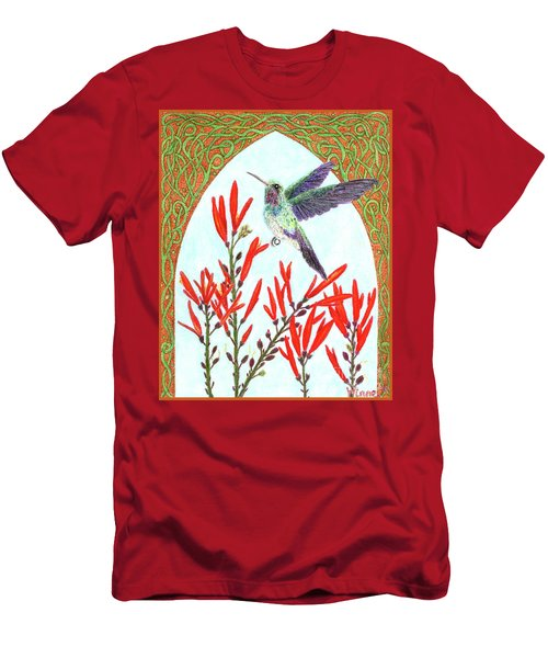 Men's T-Shirt (Athletic Fit) featuring the painting Hummingbird In Opening by Lise Winne