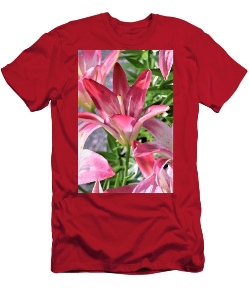 Exquisite Pink Lilies Men's T-Shirt (Athletic Fit)