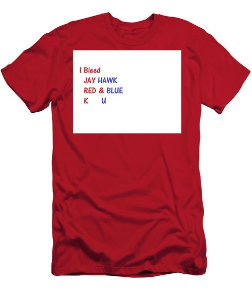 Men's T-Shirt (Athletic Fit) featuring the photograph i bleed JAYHawk by Aaron Martens